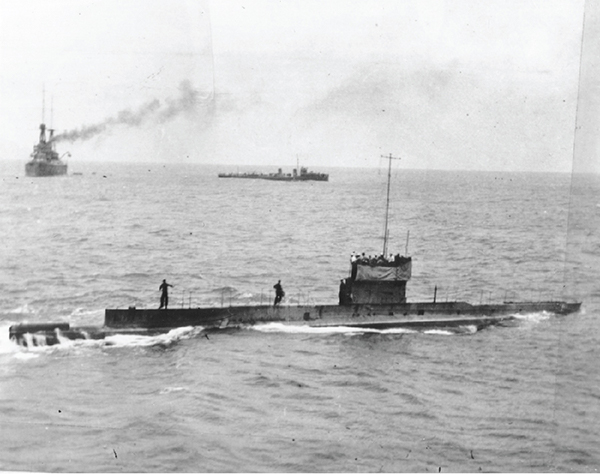 Last known image of HMAS AE1, 9 September 1914 with Yarra and Australia in the background.
